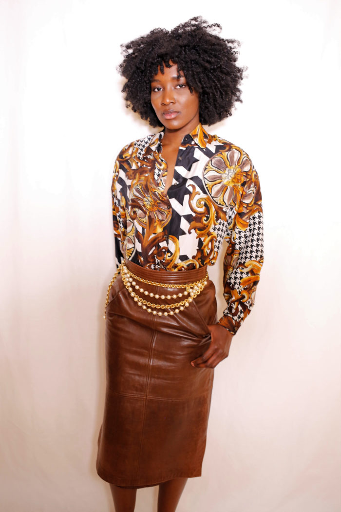 brown-leather-skirt